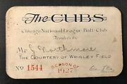 1927 Chicago Cubs Ticket Pass Hack Wilson L L Hr 30/charlie Root Wins 26 B.ruth