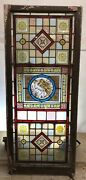 Antique Victorian Stained Glass Window Hand Painted Old Reclaimed Period Rare