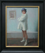 Harry John Pearson British Art Deco 1920and039s Portrait Oil Painting Girl In White