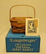 Longaberger 1990 J.w. Collection Large Berry Basket W/ Protector And Certificate