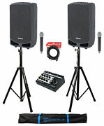 2 Samson Expedition Xp310w-d 10 Dj Pa Speakers W/bluetooth+mic+stands+mixer