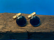 Old Vtg Collectible Gold Tone Round Blue Stone Swank Cuff Links Men's Jewelry