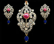 Victorian 4.15ct Rose Cut Diamond Ruby Womenand039s Pendant Set Shop Early And Save