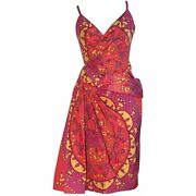 Nwt Christian Dior Pink And Yellow Draped Tassel And Chain Print Dress Fits Xs