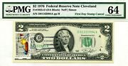 2 Dollars 1976 First Day Stamp Cancel Wickliffe Oh Lucky Money Value 1976