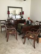 Duncan Phyfe Style Mahogany Harvest Table And 6 Chairs Set 3 Leaves Local Pickup