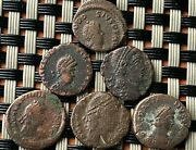 Lot Of 6 Ancient Roman Imperial Bronze Coins Ae4 In Excellent Quality