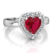 0.32ct Diamond Ruby 14k White Gold Wedding Womenand039s Ring Shop Early And Save