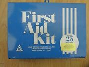Vintage Number 25 Industrial First Aid Kit - Acme Cotton Blue Metal Box - New