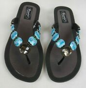 Grandco Sandals Beach Pool Thong Bling Dressy Turquoise Color Gemstones Jeweled
