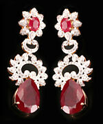 1.78ct Diamond Ruby 14k Yellow Gold Christmas Engagement Womenand039s Earrings