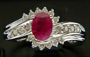 0.60ct Diamond Ruby Solid 14k White Gold Lovely Cute Wedding Ring
