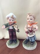 Adorable 2 Figurines Little Boys Playing Fiddle And Drums Sweet Faux Hummels