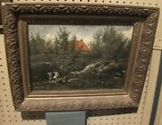 Listed Artist Headed Home Antique Cows Landscape Oil Painting Animal Estate
