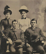 Civil War Era Tintype Soldier Military Infantry Soldier Brothers And Their Wives