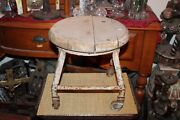 Antique Industrial Milking Cow Stool Factory Stool Wheels Plant Stand Garden 2