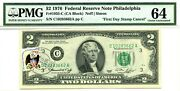 2 Dollars 1976 First Day Stamp Cancel Levistown Pa. Lucky Money Value 1976
