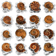 300 Pcs Lot Natural Ammonite Fossil Gemstone 925 Sterling Silver Overlay Rings