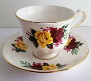 Queen Anne Bone China Teacup And Saucer Yellow And Red Cabbage Roses England Vintage