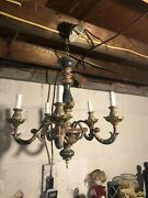 Antique Stunning Hand Crafted Ceramic And Iron Chandelier 5 Armlight Fixture