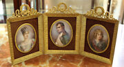 19th Century Painted Plaques Of Napoleon And Family In Bronze Tryptch Frame