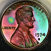 Rainbow Toned Anacs Pf65 Rb 1974 S Lincoln Memorial Cent Neon Color Pq Proof