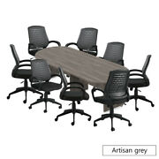 Gof 10 Ft Conference Table With 8 Chairs, Artisan Grey, 9-piece Table Set