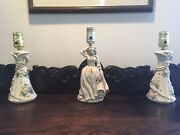 Set Of 3 Vintage 1940's Wm. F. B. Johnson Table Lamps Cherry Blossoms With Lady