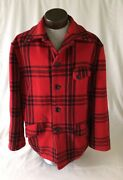 Menand039s Vintage 1950s Size Large Jc Higgins Sears Wool Red Plaid Hunting Jacket