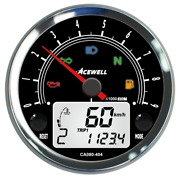Acewell 80mm Tachometer 9000rpm Black Face With Polished Chrome Body
