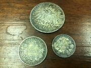Lot Of 3 1913-a German Silver 3 Mark Prussia Kaiser And 1/2 Mark 1 Mark Ww1