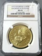 1975 Gold Mauritius 1966 Minted1000 Rupees Flycatcher Bird Ngc Mint State 65