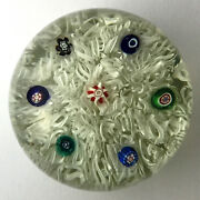 Rare Antique English Or French Millefiori On Lace Glass Magnum Paperweight