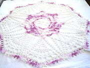 Large -white And Purple Variegate Colored Hand Crocheted Round Doily 23