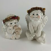 2 Cast Art Cherubs Dreamsicles Sitting Pretty Bunny And Me Made In Mexico