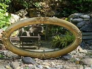 Antique 1800s Victorian Giltwood 47x25 Oval Mirror Hand-carved Acanthus Flowers