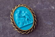 Incredible Antique Italian 14k Gold Molded Turquoise Glass Cameo Brooch Cupid
