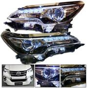 Genuine Parts Toyota New Fortuner 15+ Head Lamp Light Led Projector Drl Pair