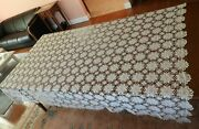 Antique Handmade Beige Embroidered Lace Table Cloth Runner Textiles Tablecloth