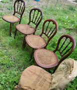 Lot 5 Antique/vintage Solid Wood Cane Seat Dining Kitchen Side Accent Chairs