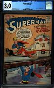 Superman 123 Cgc 3.0 Silver Age Key Dc Comic Supergirl Tryout Issue L@@k