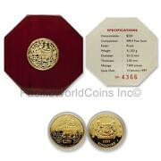Singapore 1997 Ox 250 1 Oz Gold Proof Coin With Box And Coa Sku 7669