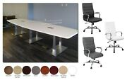 12 Ft Foot Conference Table With Metal Legs And 10 High Back Chairs In 8 Colors