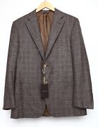 Canali Exclusive Menand039s Classic Fit Check Two Button Sport Coat Brown Sz 52r 1001