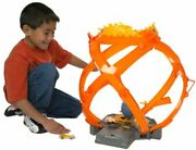 Hot Wheels Throwback Fireball Crash Track Set Playset With 5 Cars Ftc95 New