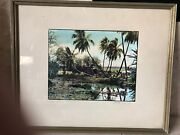 Hand Colored Tinted Photo Edithe Beutler Signed Still Waters Palm Hawaii