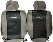 2007-13 Toyota Tundra Double Cab Crewmax Alea Leather Seat Covers Kit Black Gray