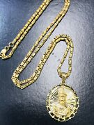 18k Solid Yellow Gold Box Chain Necklace And 3-d Santo Nino Pendant 23.60 Grams