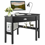 Corner Computer Desk Laptop Pc Writing Table Wood Space Saver Office Home Black