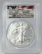 2016 W Silver Eagle Pcgs Sp69 Burnished Unc Set 30th Anniversary Lettered Edge